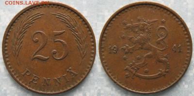 18.Монеты Финляндии - 18.50. -Финляндия 25 пенни 1941   168-ак3-3639