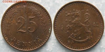 18.Монеты Финляндии - 18.51. -Финляндия 25 пенни 1942    168-ак2-3637