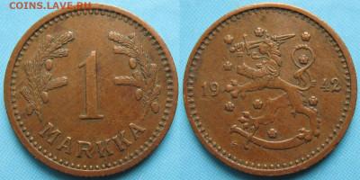 18.Монеты Финляндии - 18.56. -Финляндия 1 марка 1942    3167