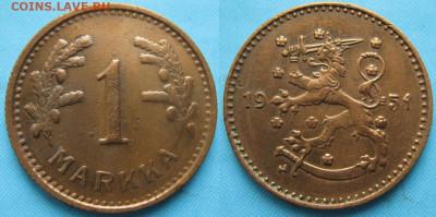 18.Монеты Финляндии - 18.58. -Финляндия 1 марка 1951 H    3226