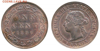 Канада. Монеты периода правления королевы Виктории 1858-1901 - image-1-cent-1896-g