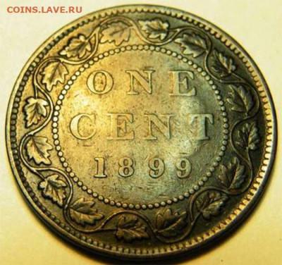 Канада. Монеты периода правления королевы Виктории 1858-1901 - 1-cent-1899-ghosting-1899