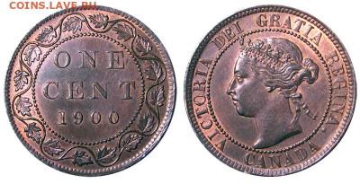 Канада. Монеты периода правления королевы Виктории 1858-1901 - image-1-cent-1900-g