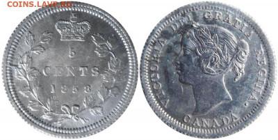 Канада. Монеты периода правления королевы Виктории 1858-1901 - image-5-cents-1858-g