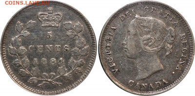 Канада. Монеты периода правления королевы Виктории 1858-1901 - 5-cents-1884