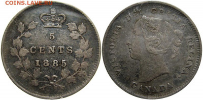 Канада. Монеты периода правления королевы Виктории 1858-1901 - 5-cents-1885-g
