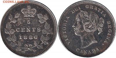 Канада. Монеты периода правления королевы Виктории 1858-1901 - 5-cents-1886