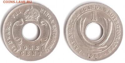Уганда - Восточная Африка и протекторат Уганда 1 цент 1909 KM-5a 328