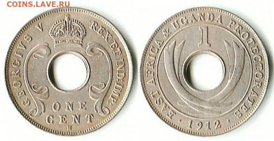 Уганда - Восточная Африка и протекторат Уганда 1 цент 1912 H KM-7 F-0,25 VF-1 XF-3