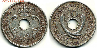 Уганда - Восточная Африка и протекторат Уганда 10 центов 1912 H KM-8