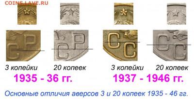 3 копейки 1943г. Перепутка. Помогите оценить. - 3 копейки 1935-46 отличия от 20 копеек