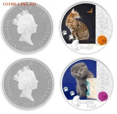 Кошки на монетах - ниуэ кошки
