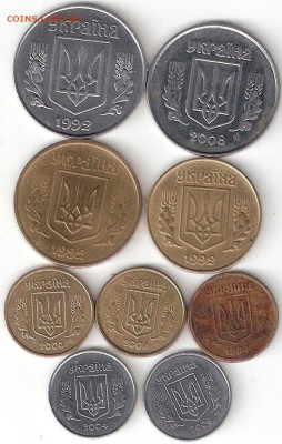 УКРАИНА: Погодовка 9 монет разные - Украина-9 погодовок А
