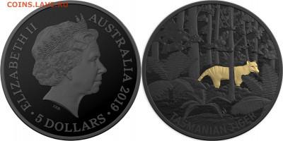 Монеты в необычном цвете - australie-2019-échos-faune-nocturne-tigre-de-tasmanie