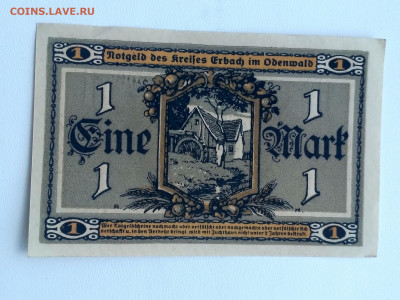Erbach im Odenwald,1 марка 1918г(нотгельд)до 23.05.2020г - IMG_20200518_151402_HDR