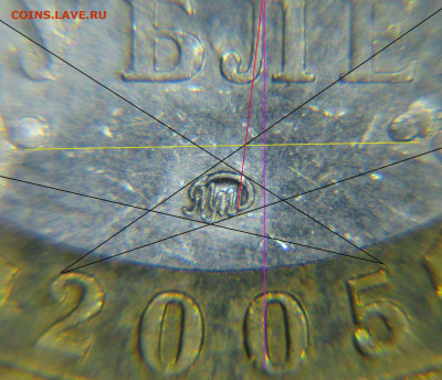 Разновидности 10 рублей 2005 Москва. - В1.1