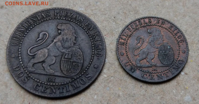 Испания 1 и 2 сентимо 1870 ФИКС до 24.07 - IMAG7667~2