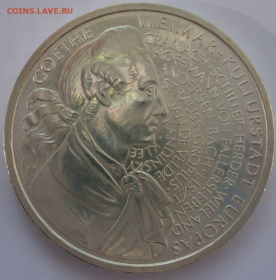 10 марок ФРГ 1999. Гёте. UNC. Серебро. - 10 марок ФРГ 1999 Гёте - 3-4