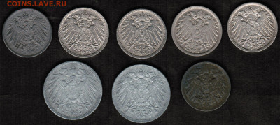 Монеты Германской империи - 8 штук (1906-1921 год) - CCI20072020_00001