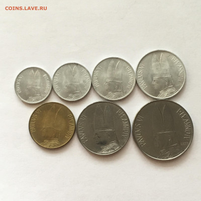 Ватикан 1966г 7 монет от 1 до 100 лир - image-02-08-20-01-09