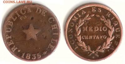 Чили. - Чили 1.2 сентаво 1835 KM-114 Coin alignment VG-1 F-2 VF-3,5 XF-20 249