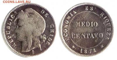 Чили. - Чили 1.2 сентаво 1872  KM-148 VG-3,5 F-6 VF-12 238