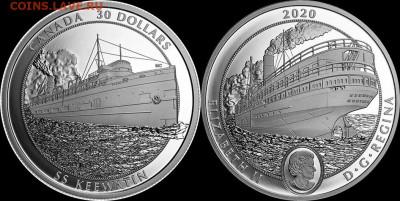Монеты с Корабликами - КАНАДА 30 долларов 2020