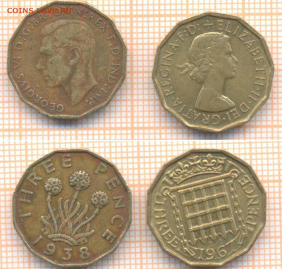 Великобритания 3 пенса 1938,1967 г., до 22.09.2020 г. 22.00 - Великобритания 3 пенса 1938 67 104