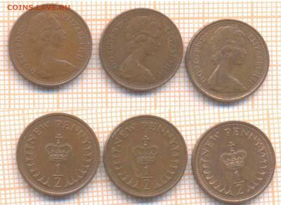 2 пенни 1971,74,80 г., до 22.09.2020 г. 22. - Великобритания полпенни 3 шт 108