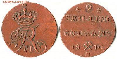 Норвегия. - Норвегия 2 скиллинга 1810 KM-280.1 8,66gr