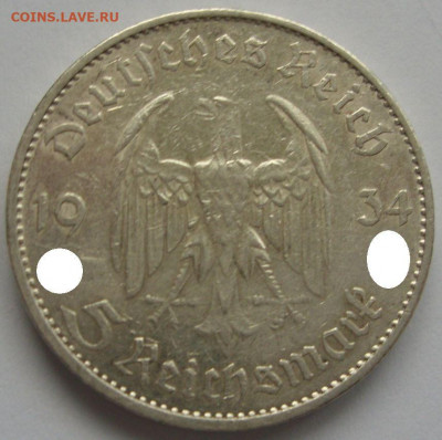 Германия, иностранщина (наборы, на вес, евро), царизм, СССР. - 5 марок Кирха с подписью 1934 A - 1-1