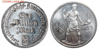 Freiberg. Саксония 1 миллион марок 1923 - интерес и оценка - Freiberg Саксония =1000000 марок 1923