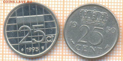 Нидерланды 25 центов 1950,1995 г., до 19.01.2021 г. 22.00 по - Нидерланды 25 центов 1950,1995 2576