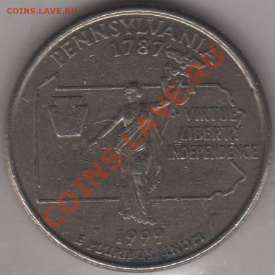 4 доллара 1999 Пенсильвания до 05.10.11 21-00 - США четвертак 1999 2 а