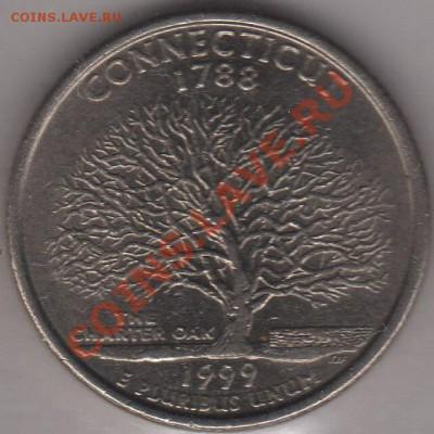 4 доллара 1999 Коннектикут до 05.10.11 21-00 - США четвертак 1999 5 а