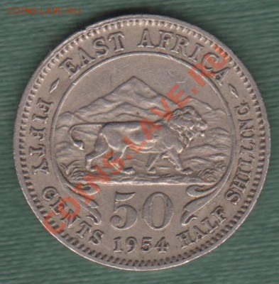 """Британская Восточная Африка, Пол Шиллинга 1954 """"Лев"""" (04.10) - 50 cent EA"""