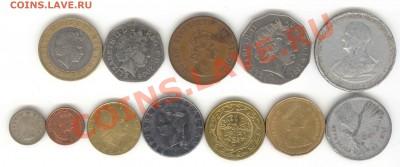 """6 лотов иностранных монет формата """"кот в мешке"""" - 5+"""