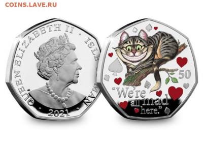 Кошки на монетах - Чеширский кот-2021-2