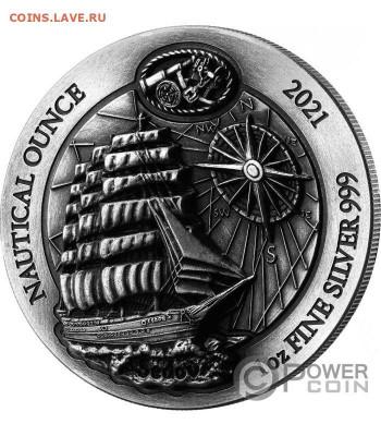 Монеты с Корабликами - sedov-nautical-ounce-antique-1-oz-serebro-moneta-50-frankov-ruanda-2021