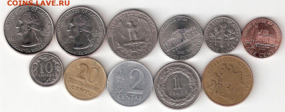 Инострань, 11 разных монет: США 6шт, Литва, Польша,Азербайд - INOSTRAN-11st A 011