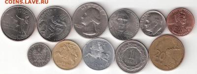 Инострань, 11 разных монет: США 6шт, Литва, Польша,Азербайд - INOSTRAN-11st P 011