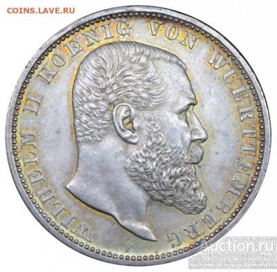 Германия 5 марок 1905 Вюртемберг - vjurtemberg_vilgelm_ii_5_marok_1913_goda_f_unc_v_slabe_nnr_ms_62