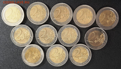 Подборка 2-евровиков (12 шт) с номинала, 25.09.21, 22.00 мск - 1632301646539