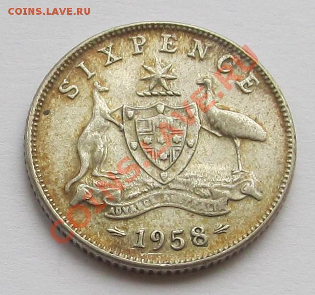 Австралия 6 пенсов 1958 km 58 серебро 4178-366